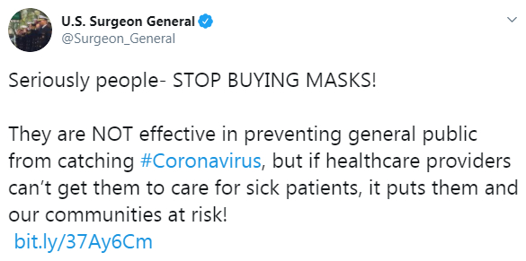 Mask - Surgeon General says No Symptoms No Mask